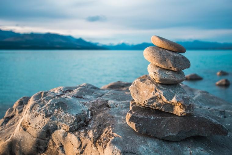 Zen stones on beach